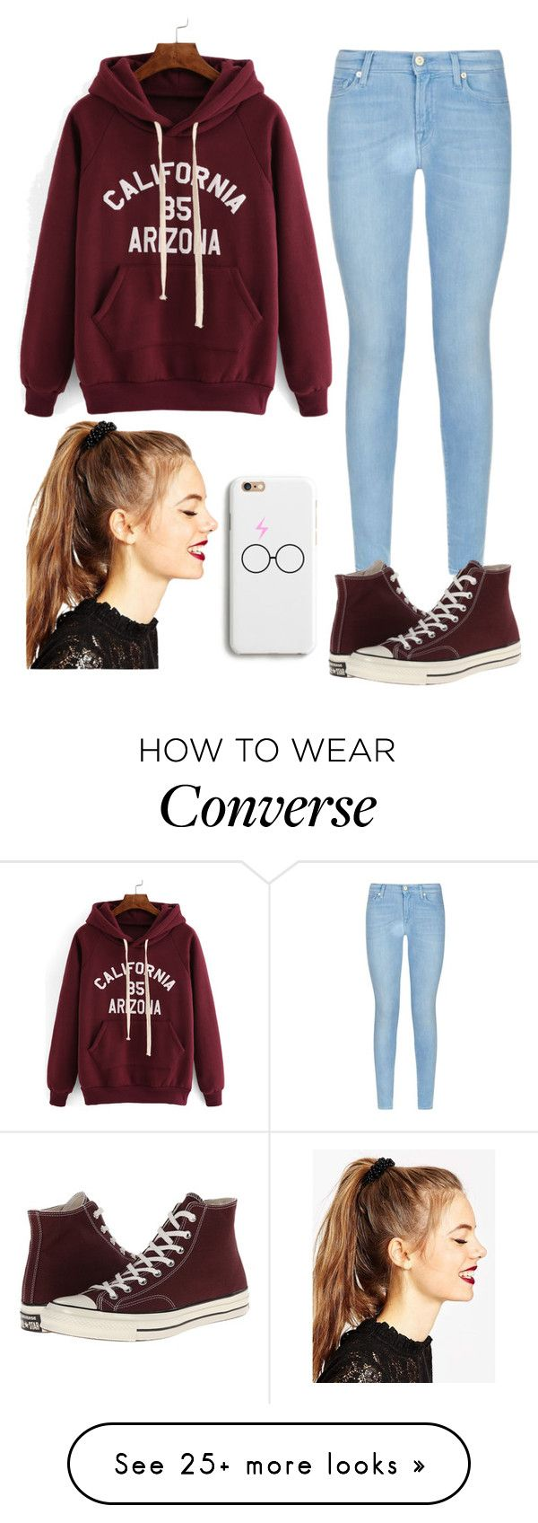 """""""Untitled #243"""" by jasmine-rlrh on Polyvore featuring 7 For All Mankind, Converse, ASOS, women's clothing, women's fashion, women, female, woman, misses and juniors"""