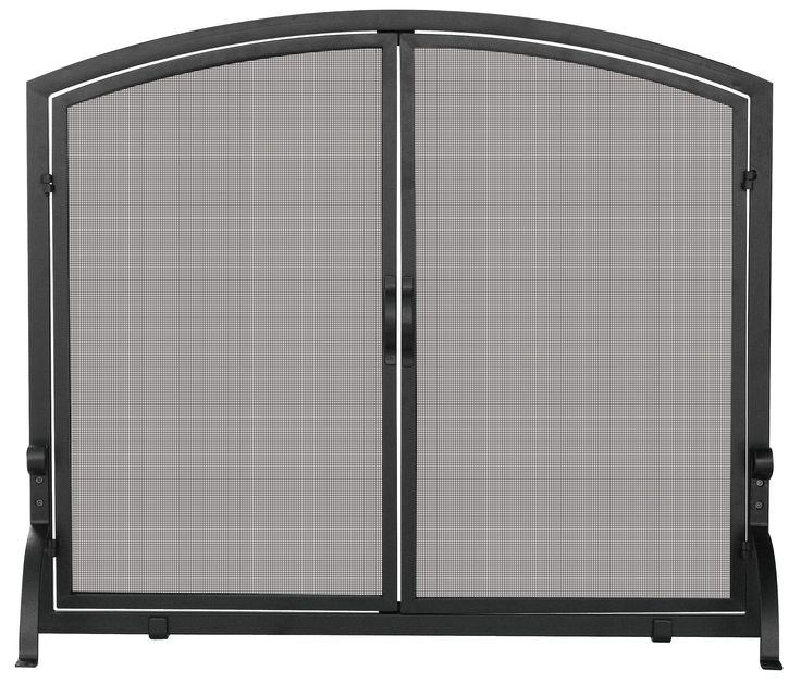 Features:  -Wrought iron material.  -Simple and sleek design.  -Doors allow easy access to fireplace.  -Black finish.  Product Type: -Fireplace screen.  Finish: -Black.  Primary Material: -Iron. Dimen
