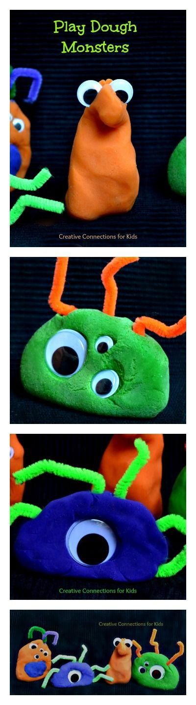 Play dough monsters are fun for Halloween and anytime too! Creative Connections for Kids #playdough