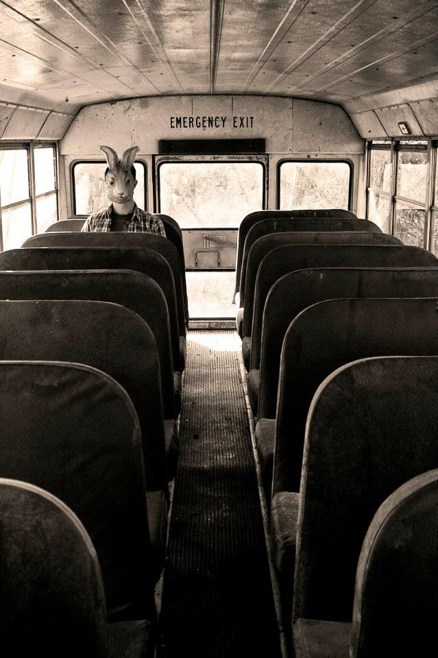 """""""Mr.Rabbit?"""" I called out my voice cracking. He looked at me and looked at the seat across from him. I walked down the isle, the bus door closing, causing me to jump. Nervously I sat down. """"I want to play a game."""" this had seemed to catch his attention, his mask was void of any emotion."""