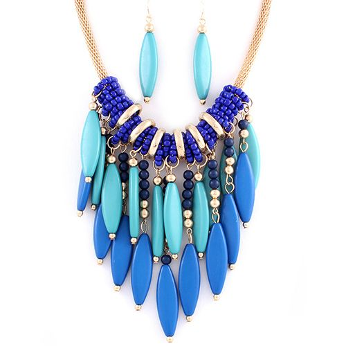 Blue Seed Bead Tail Chain Necklace