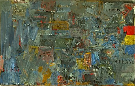 "Jasper Johns.  Map. 1963. Encaustic and collage on canvas 60 x 93"" (152.4 x 236.2 cm)"