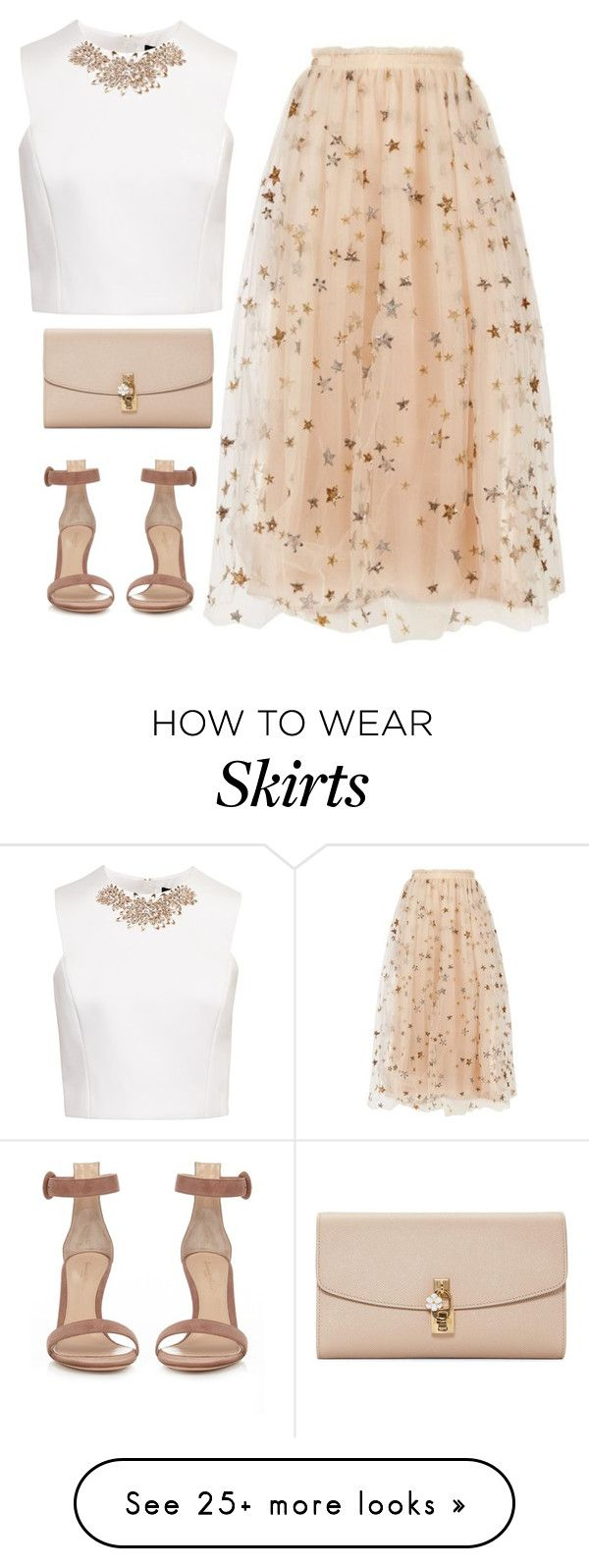 """""""stars pattern skirt"""" by shaym345 on Polyvore featuring Valentino, Ted Baker, Gianvito Rossi and Dolce&Gabbana"""