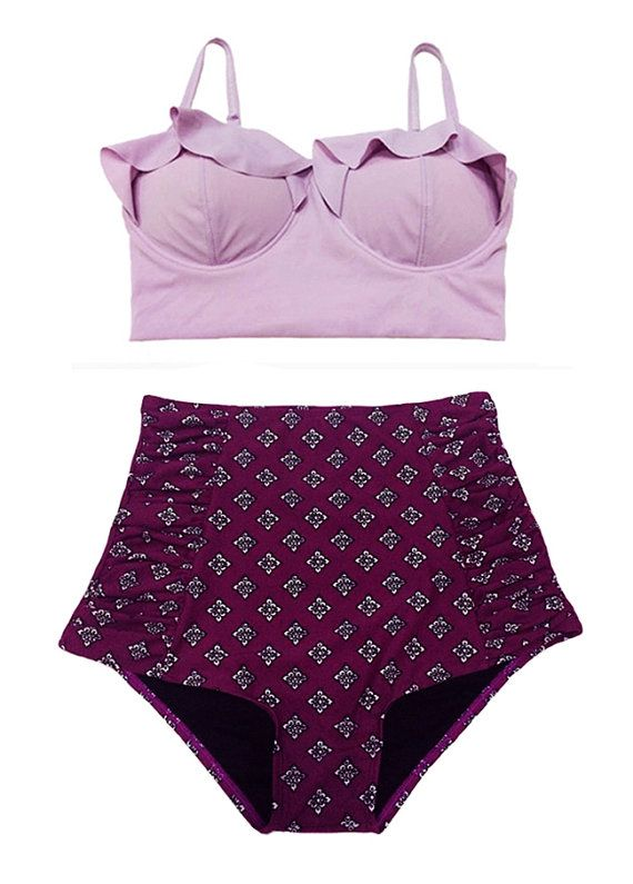 Lavender Midkini Top and Burgundy Graphic Ruched by venderstore, $39.99