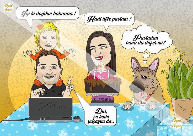 Babaya karikatürlü doğum günü hediyesi :)  #ozelcizim  #karikatur #hediye #portre #aile #resim #sanat #dogumgunu #birthdaygift #hediyeler #komik #k9 #baba #anne #cizim #sanat