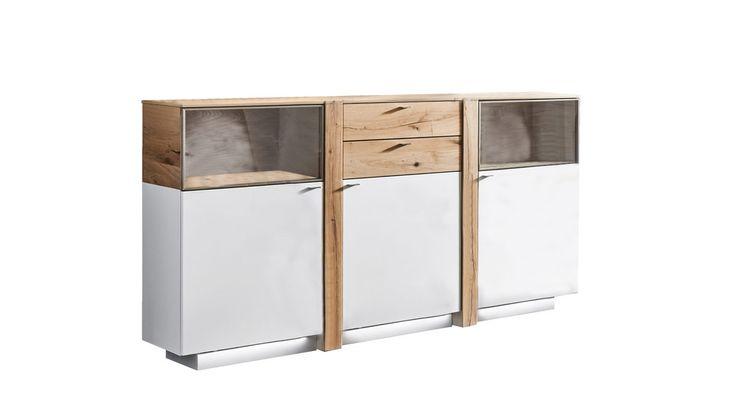 Sideboard Venjakob aus Kunststoff Holz Furnier in Weiß Sideboard Albero mattweiße Lackoberflächen & geölte Santana Eiche – ca. 196 x 122 x 43 cm