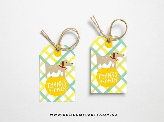 Dog & Duck Thank You Lolly Bag Party Tags Personalised DIY