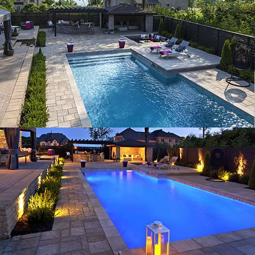 Incredible by day and night! Did you know that we can automate your landscape? You'll be able to manage your pool functions and lighting, all by the touch of a button on your mobile device! #backyardoasis #dayandnight #photooftheday #landscapedesign #lightingdesign #backyardlighting #outdoorlighting #poollighting #mtl #montreallandscaping #exteriordesign