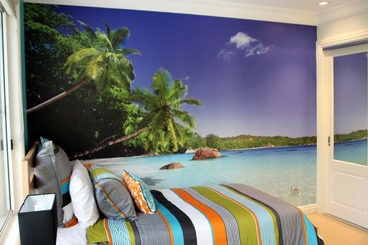 Phil and Louise's beach wall mural that they installed in their ten year old son's bedroom.