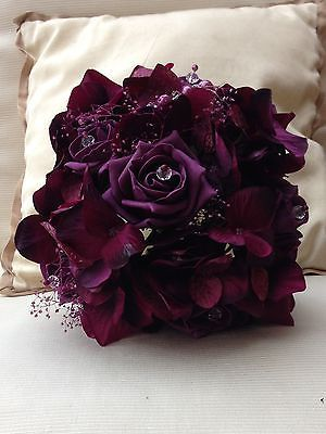 VINTAGE PURPLE PLUM AUBERGINE HYDRANGA ROSES PEARLS BOUQUET BRIDES WEDDING