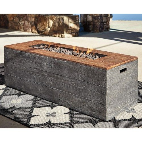 Signature Design by Ashley Hatchlands Low Rectangular Fire Pit Table