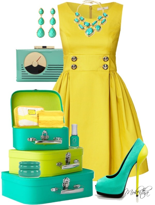 """50's Retro Yellow and Turquoise Outfit"" by mokeitha on Polyvore"