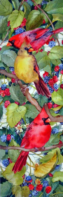 """Cardinal and Berries"" painting by Jan Ford."