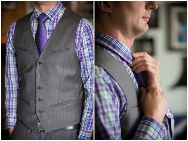 This purple checked shirt goes great with the grey vest for a fun look. Exchange the neck tie for a bow tie