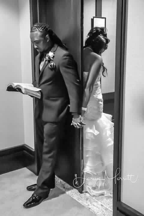 A soon to be husband praying and reading the Bible with his soon to be wife.....PRICELESS!