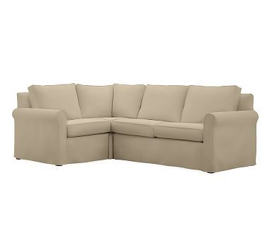 Cameron Roll Arm Right Arm 3-Piece Corner Sectional Slipcover, Performance Canvas Dune