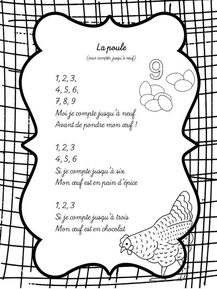 Comptine à compter La Poule, vers les maths MS période 2