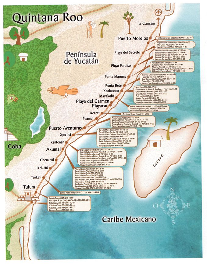Handy map of Mayan Riviera, Mexico, {Quintana Roo} and many of the popular resorts in the area.
