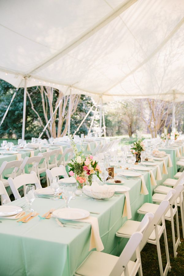 Mint tablecloths for guest tables