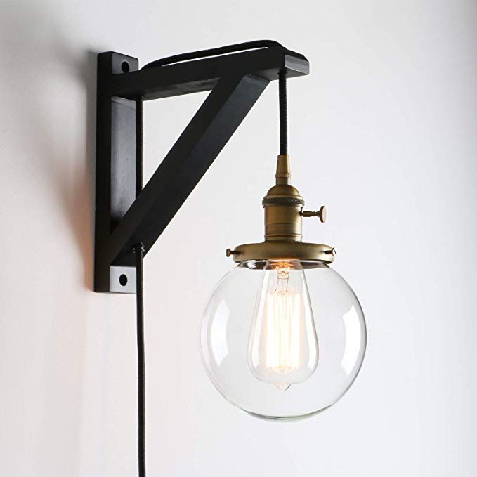 Permo Vintage Industrial 1 Light Plug In Wall Mount Wood Bracket Wall Sconce Lighting Fixture Wit Wall Mounted Light Sconce Light Fixtures Wall Sconce Lighting Plug in wall mounted light fixtures