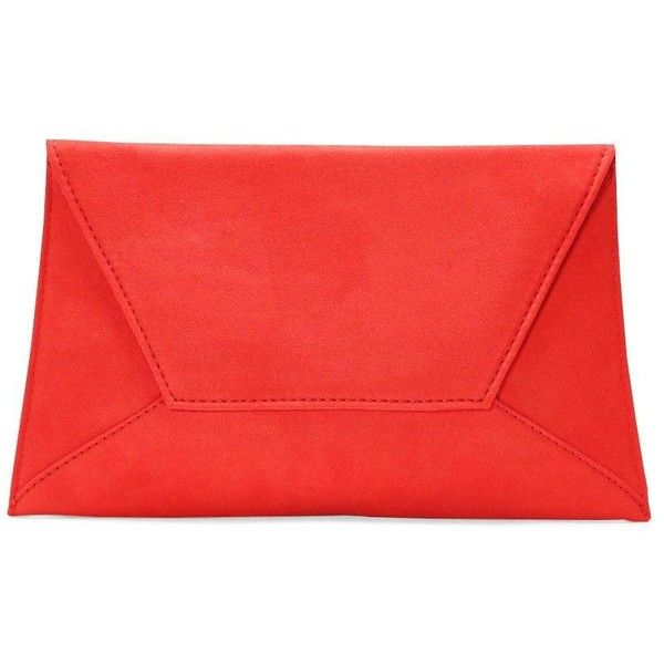 Nasty Gal WANT You've Got Mail Envelope Clutch ($24) ❤ liked on Polyvore featuring bags, handbags, clutches, red, red clutches, snap closure purse, snap purse, envelope clutch bags and envelope clutch