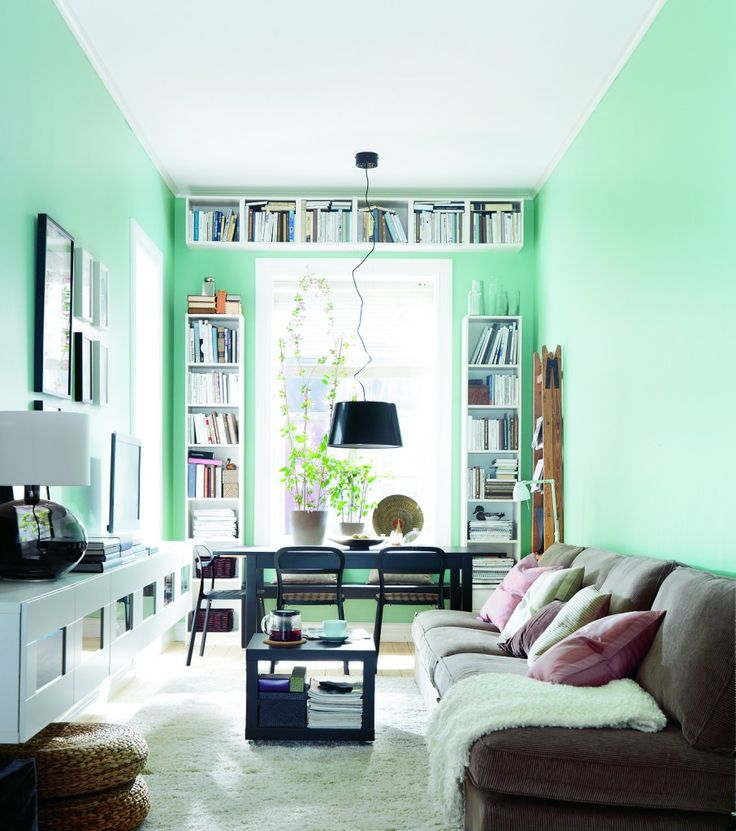 Adorable Ikea Living Room Design Ideas Wonderful Cyan Painted Wall Ikea Living Room With Brown