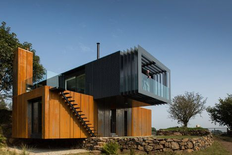 Grillagh Water House by Patrick Bradley is made up of four stacked shipping containersStudioAflo | Interior Design Ideas | StudioAflo | Interior Design Ideas