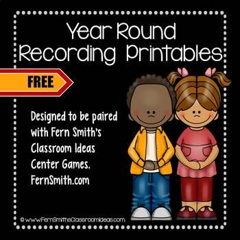 Fourteen FREE Year Round Addition and Subtraction Printable Recording Sheets To Be An Additional Resource For Your Math Center Time. These free recording sheets are made to go with the following Math Center, Twelve Quick and Easy to Prep Addition and Subtraction Center Games Bundle. You can purchase this bundle or each center individually. #FernSmithsClassroomIdeas