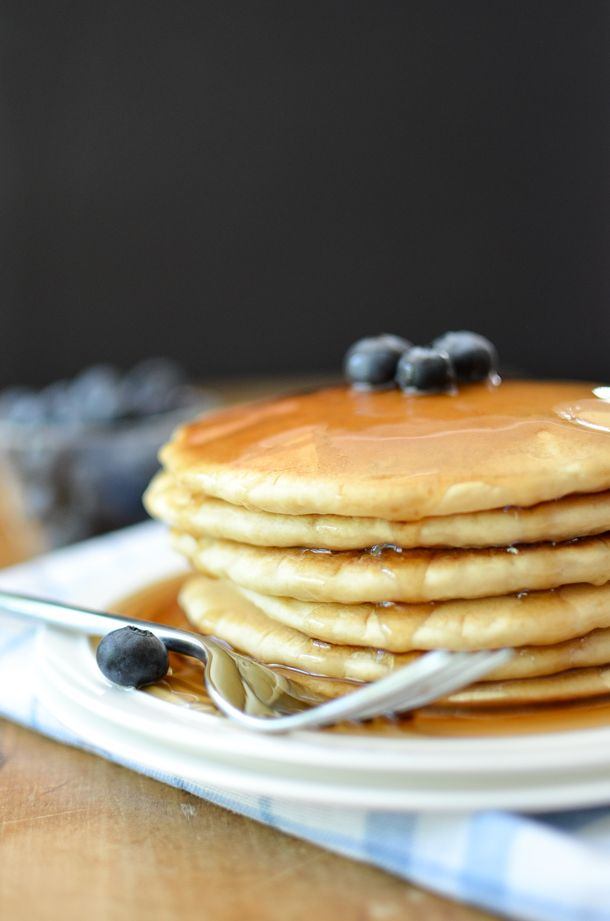 These dairy free pancakes are extra fluffy and made from scratch. They're so easy to make that you'll never buy pancake mix again.