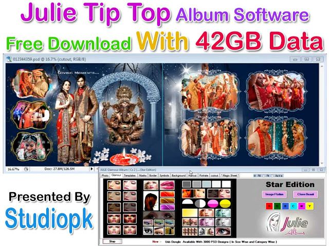 Julie Tip Top Album Software Free Download With 25gb Data Wedding Album Design Album Design Top Albums