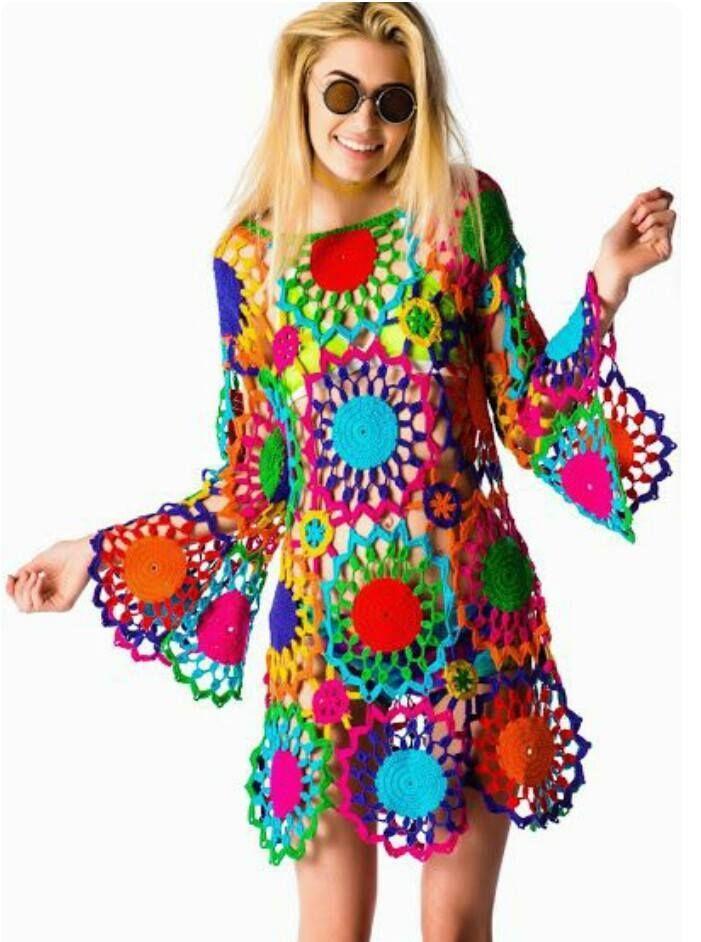 rengarenk bayan örgü motifli elbise modelleri