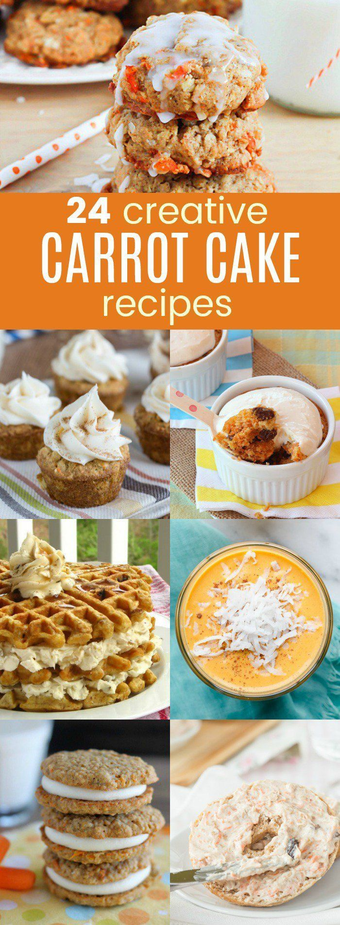 24 Creative Carrot Cake Recipes - enjoy this favorite spring dessert in every form from indulgent sweet treats like cookies and cupcakes to healthy breakfast and snacks like smoothies and granola bars, plus everything in between. You'll even find the classic recipe for the best carrot cake ever! #carrotcake #easter #baking #breakfast #dessert #springrecipes #springdesserts
