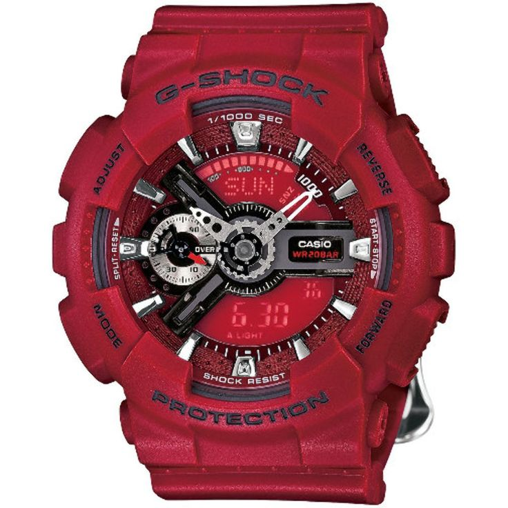 Casio G-Shock S Series Floral Red Dial Resin Quartz Ladies Watch GMAS-110F-4A. Shock & Water Resistant (200M). 29 Time Zones (48 Cities). 5 Daily Alarms. 1/1000 Second Stopwatch. Countdown Timer.