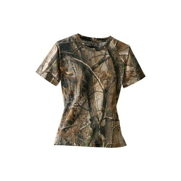 Cabela's Women's 100% Cotton Short-Sleeve Tee ($15) ❤ liked on Polyvore featuring tops, t-shirts, shirts, camo, country, t shirt, short sleeve camo shirt, brown shirts, camouflage t shirts and camouflage shirts