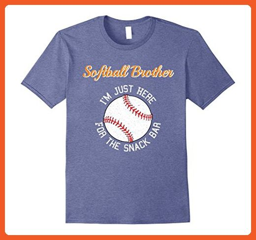 Mens Softball Brother I'm Just Here for the Snack Bar T-Shirt Small Heather Blue - Relatives and family shirts (*Partner-Link)