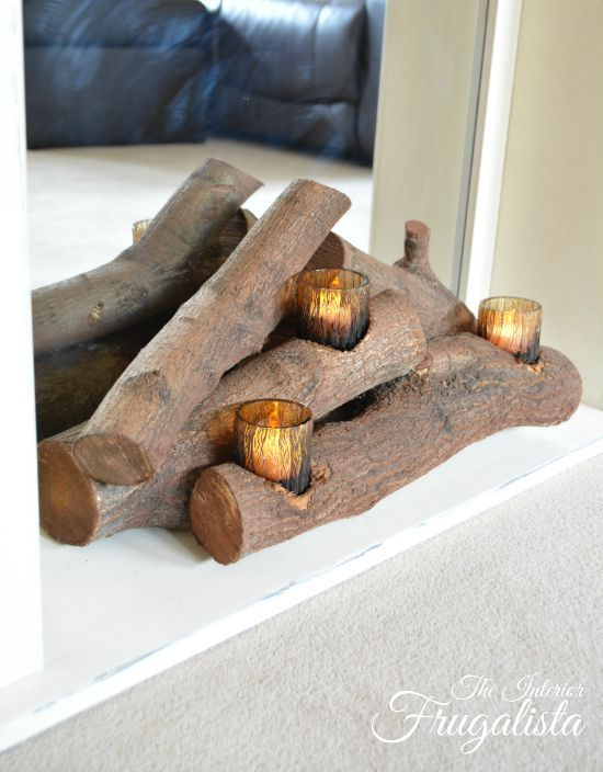 Easy DIY Faux Fireplace Insert With Real Logs