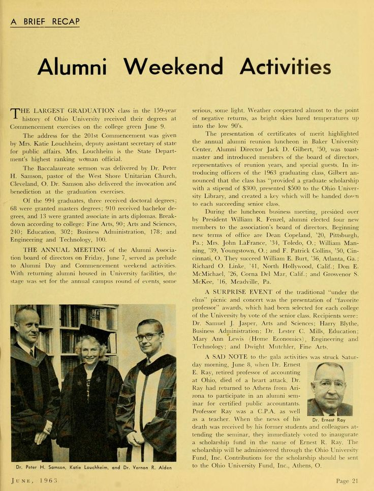 """The Ohio Alumnus, June 1963 """"Alumni Weekend Activities. The largest graduation class in the 159-year history of Ohio University received their degrees at Commencement exercises on the college green June 9. The address for the 201st Commencement was given by Mrs. Katie Louchheim, deputy assistant security of state for public affairs. Mrs. Louchheim is the State Department's highest ranking women official."""" :: Ohio University Archives"""