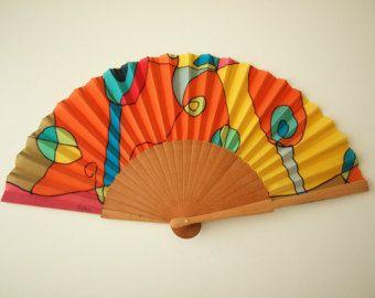Espagnol ventilateur à la main peint à la main en soie de pair ventilateur de mariage main en soie d'éventail en éventail craft- ventilateur à la main la main en espagnol-Bridesmaids-
