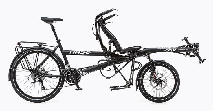 Hase Pino Tour - Be it joyride or marathon: this bike is not just any old tandem. It is equipped to offer the ultimate collaborative touring experience – from double kickstand and XT/Dura Ace derailleur gears to the extra-long lowrider rack under the recumbent seat.