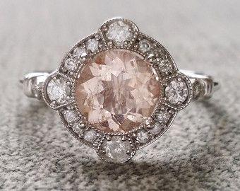 "Estate Halo Moraganite Diamond Antique Engagement Ring Victorian Art Deco Peach Pink Edwardian 14K White Gold ""The Charlotte"""