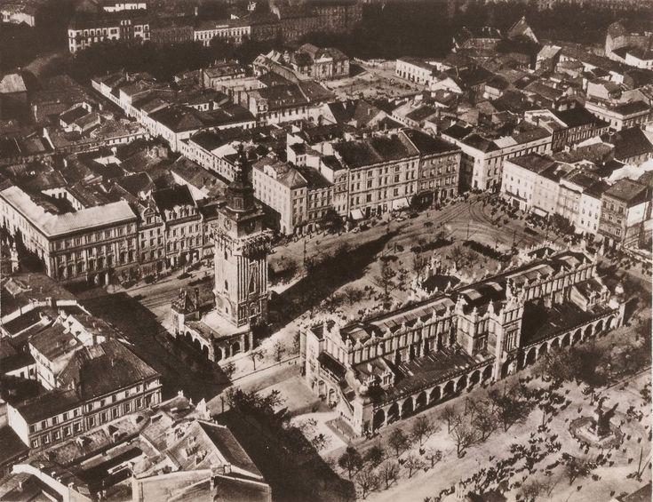 Zdjęcia lotnicze - Stare Miasto, Kraków - 1927 rok, stare zdjęcia