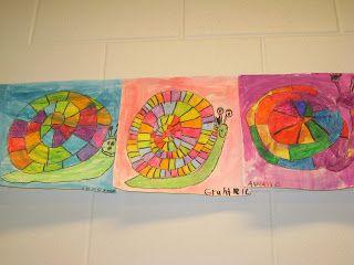 Jamestown Elementary Art Blog: 1st Grade Rainbow Order Snails - ROY G BIV