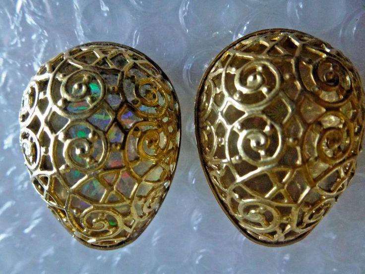 eGG SHAPE FILIGREE GOLDTONE COSTUME CLIPON EARRINGS LASER COLOR BACKING neocurio #Unbranded #ebay  #neocurio #eggs  #earrings #filigree #vintagejewelry