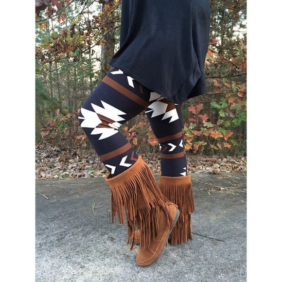Brown Aztec Tribal Print Legging One Size Perfect for winter!!  Brown Aztec pattern leggings, high waist, 95% Polyester 5% Spandex Blend.  Available in one size fits most would fit XS-XL. No Trades, Price Firm unless Bundled.  BUNDLE 3 OR MORE ITEMS FOR 15 % OFF Boutique Pants Leggings