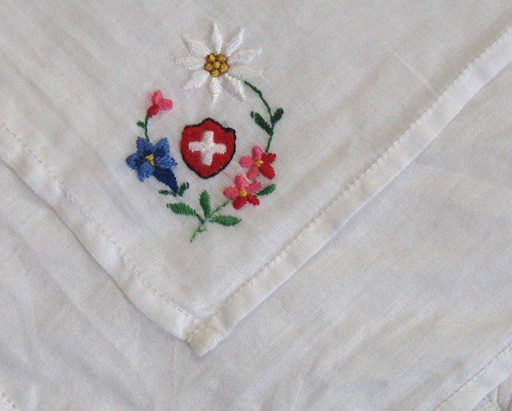 Emboidered Swiss Hankie / Swiss Batiste Hankie / Edelweiss, Enzian and Swiss Flag Hankie by vintagous on Etsy