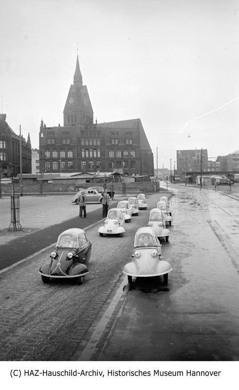 30.5.1954 - Messerschmitt Kabinenroller im hannoverschen Straßenverkehr...