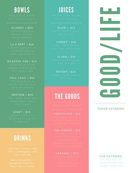 Colorful Modern Catering Menu | CATERING TEMPLATES FOR SOCIAL MEDIA ...