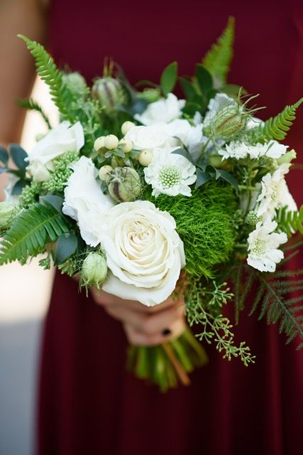 Sophisticated floral designs Portland Oregon wedding florist flowers Mcmenamins Edgefield Photo by Honeysuckle photography Green white wide garden style fern organic peony blackberry scabiosa bridal bouquet Bridesmaid flowers bouquet