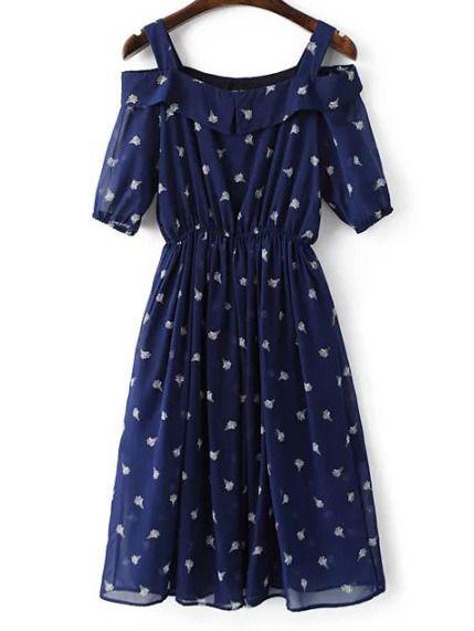 avy Cold Shoulder Ice Cream Printed Chiffon Dress