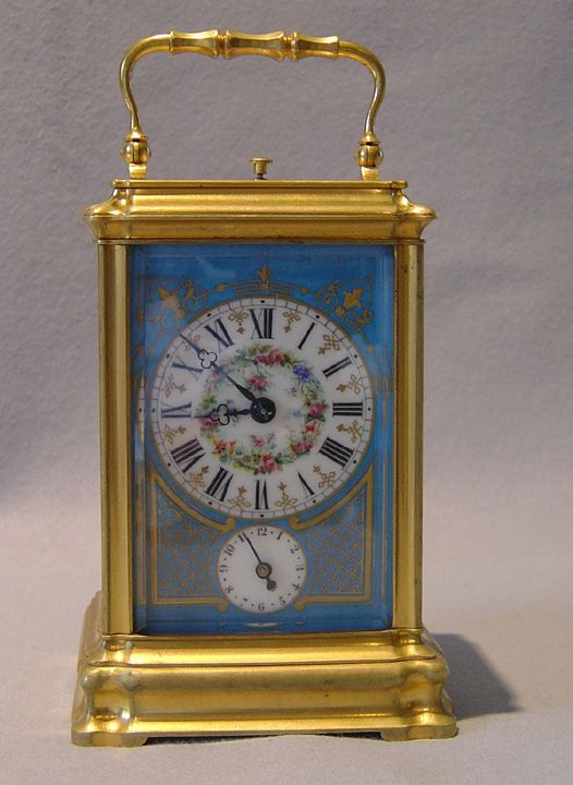 Antique French Napoleon III 5 panel porcelain repeating carriage clock with alarm. - Gavin Douglas Antiques